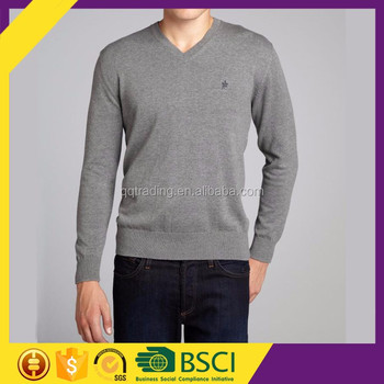 V- neck 100% cotton hot sales quality knitting wholesale casual men clothes