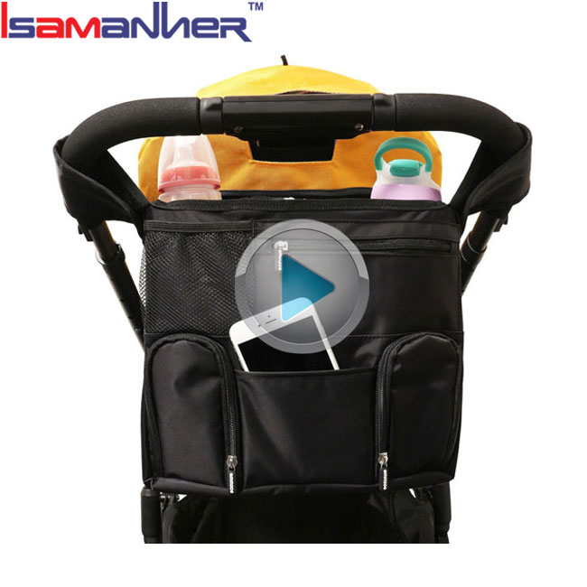 Thermal bottle holder baby car hanging diaper bag waterproof baby stroller organizer