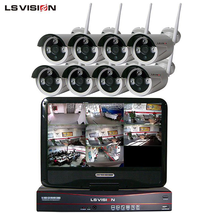 LS VISION CCTV Plug and Play Wireless IP Camera 8ch 960P Wifi NVR Kit IP66 P2P with LCD Monitor