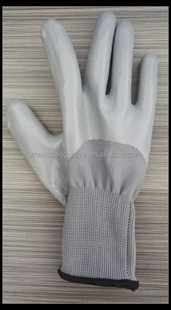13gauge polyester grey liner nitrile half coated cheap industrial work gloves low price