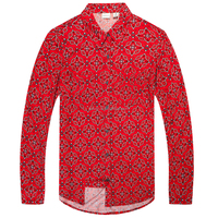 Printed Red Floral 100% Cotton Blouse Shirt