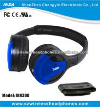 Dual channel wireless headphone with 3.5mm jack IR transmitter for home TV, DVD