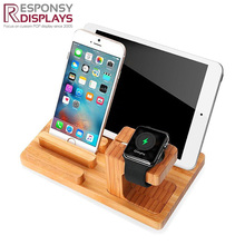 high end bamboo wooden phone display rack watch holder