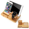 For Apple Watch Stand, Bamboo Wood Charge Dock Holder for Apple Watch & Docking Station Cradle Bracket for iPod iPhone iPad