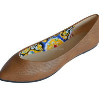 Brown Casual Snake Flat Lady Women