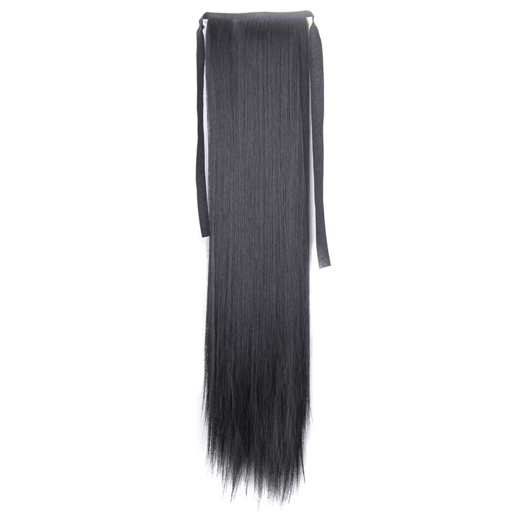 Natural Black Color Fashion Heat Resistant Fiber Synthetic Hair Drawstring Ponytails for Women