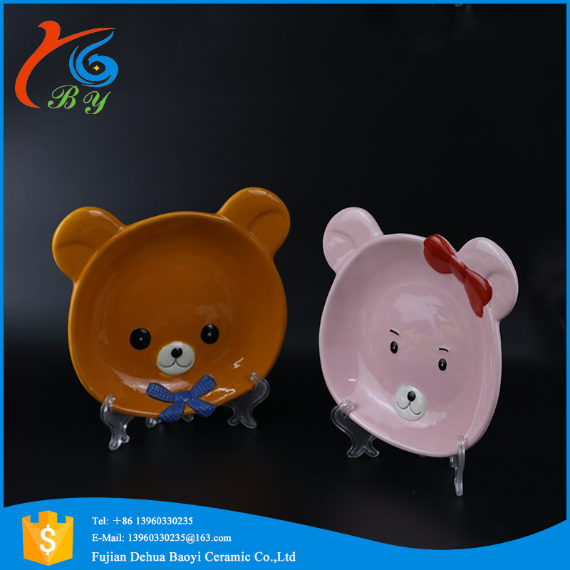 cute bear design cheap ceramic small dry fruit tray for sale