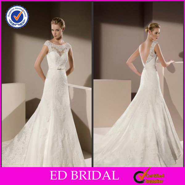 EDW523 Elegant Lace Appliqued Cap Sleeve Latest Bridal Wedding Gowns Pictures
