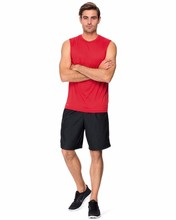 red basic men's plain solid color sleeveless top design