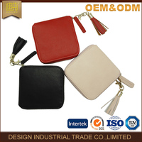Korea hot selling fashionable leisure tassels smooth leather ladies coin wallet