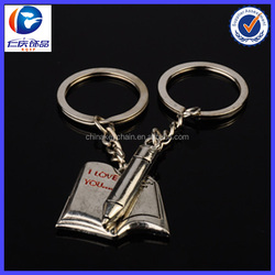2014 Newest design metal book and pen keychain for students