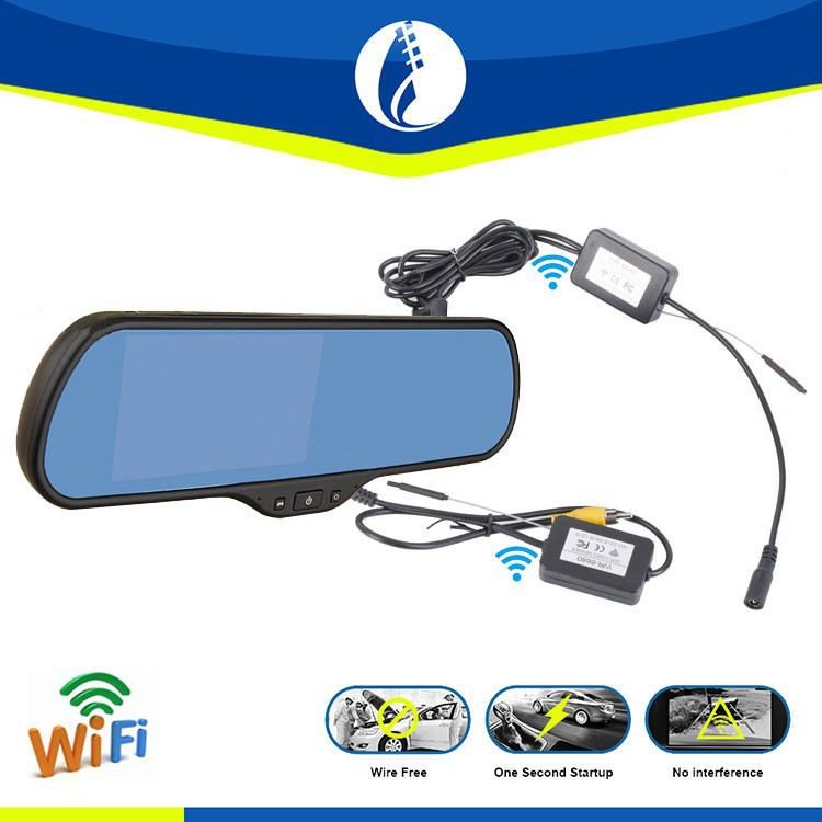 5 inch Android WIFI wireless DVR GPS car wireless reversing camera with rearview mirror