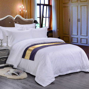 Wholesale White Color Egyptian Cotton Hotel Style Bedding 5 Star Bed Sheets  Set