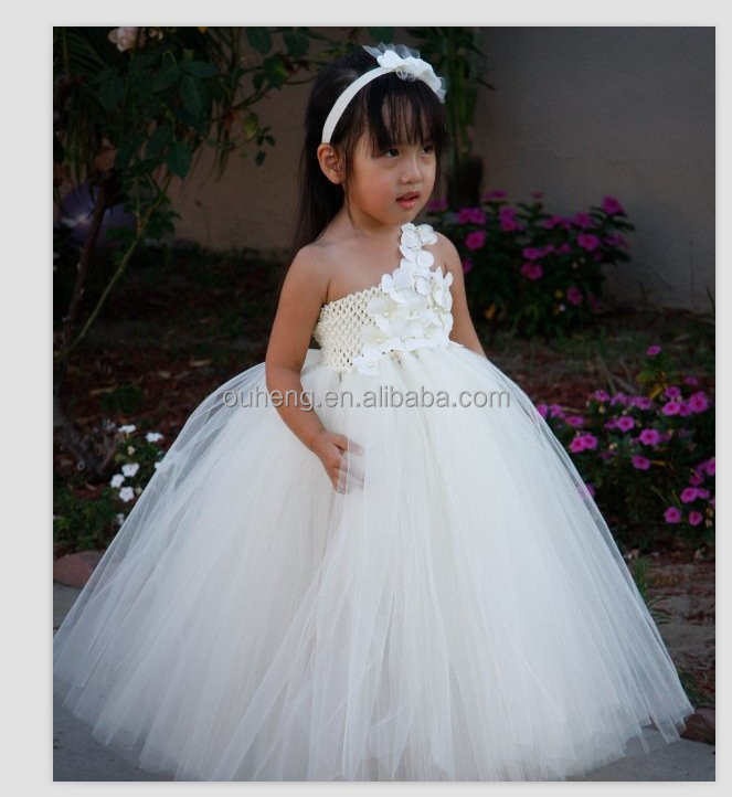 White Ivory One Shoulder Flower Girls Dresses