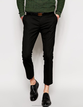 high quality polyester cropped trousers black fashion men long pants/a long skinny trouser for men new style