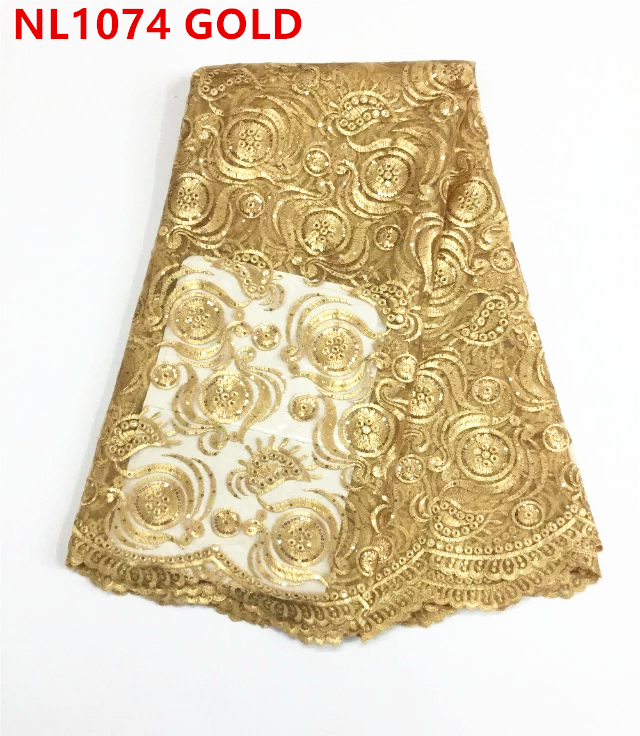 Gold Beaded Embroidery Tulle Lace /Net Lace / Hot Selling Soft African Guipure French Lace Fabric With Stones and Sequins