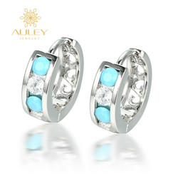 Blue zirconia stone 925 silver women fashion design clip on earrings