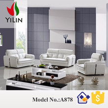 A878 Golden quality <strong>modern</strong> leather sofa for sale Living room furniture in white color