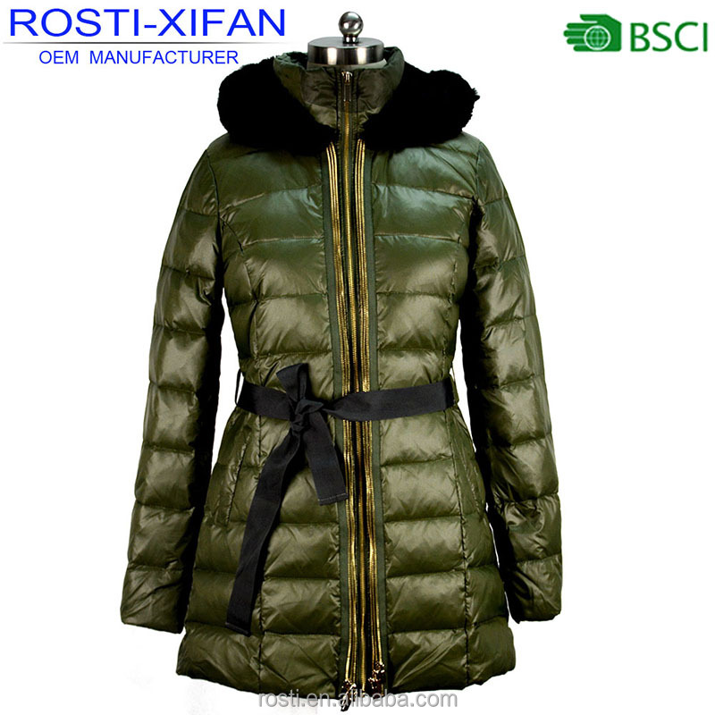Women Luxury Rabbit Fur Winter Duck Down Long Jacket with the Belt Lady Outwear