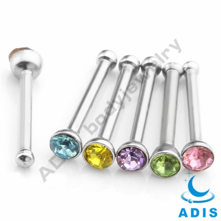 Epoxy Rainbow Logos Lip Sterilizing Steel Labret Nose Stud
