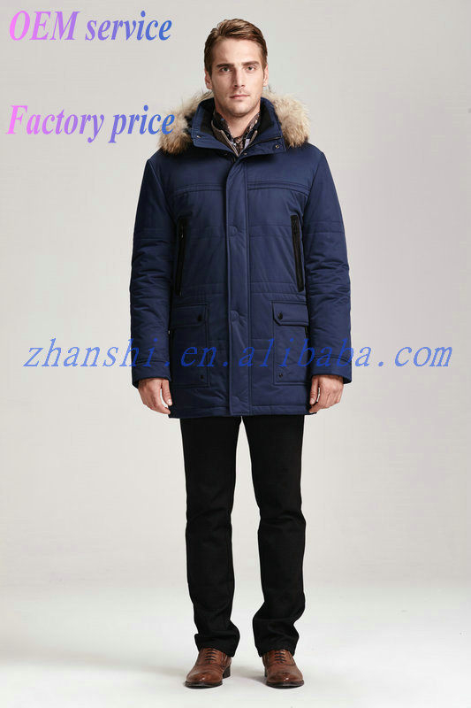 New Factory Custom European Style Men Goose Down Jacket With Fur