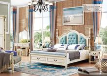 2017 Modern bedroom furniture set design was made from solid wood and E1 MDF board for bedroom furniture sets
