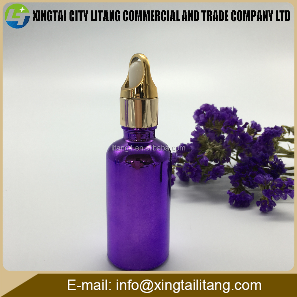 china wholesale 1oz purple coloured round glass dropper e hookah/perfume bottle with spray cap