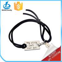 Customized My story isn't over yet stainless steel plate suede leather wrap bracelet