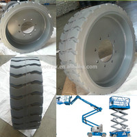 hot sale aerial scissor lift solid tyres 22x7x17 3 4 and wheels with natural rubber