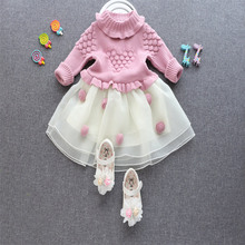 2018 Top Quality Winter Princess Dress Warm One Piece Cute Casual Fashion clothes Kids Girl Party Dress Children Sweater Wear