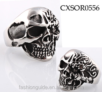 Casting 316L stainless steel punk biker ring