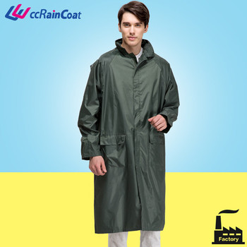 polyester long men raincoat with removable hood