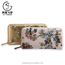 China supplier Jindasheng bee pattern women single zip purse OEM smart wallet