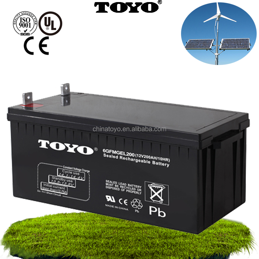 maintenance free 12v 200ah deep cycle gel inverter lead acid battery for solar system