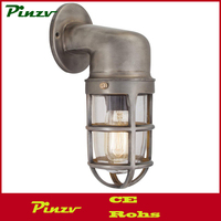 Vintage Industrial Style Pewter Cage Bulkhead Sconce Wall Light