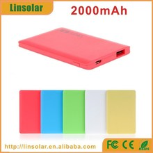 private label full color slim powerbank 2000mAh with LED indicator