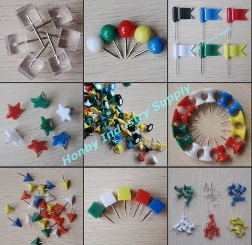 Various Shape Push Pin Assorted Color Customized Size Office Binding Supply Thumb Tacks