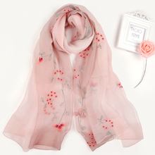 Multicolor Fashion Women's Lovely gradient african silk wool scarf floral embroidery indian viscose lace scarf