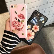Korean Retro Embroidery Flower Cell Phone Case for iPhone 7 plus 8, for iPhone 6 6s plus Leather Back Case Girl