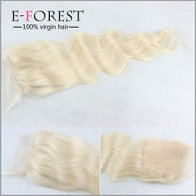 Fashion 7A Blonde #613 Peruvian Body Wave Virgin Hair Lace Closure Free Part 4x4 Front Swiss lace Closure Fast Shipping