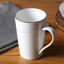 Hotel modern ceramic white color coffee water mug with black rim porcelain 360 ml milk tea cup with handle spoon