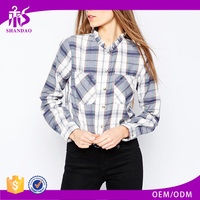 2016 Guangzhou Shandao Supplier OEM Autumn New Arrivals Casual Long Sleeve Checked Cotton Ladies Uniform Blouses
