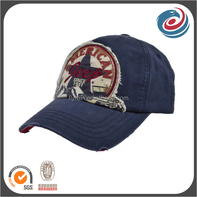 navy blue old fashion stone washed style embroidery patch caps