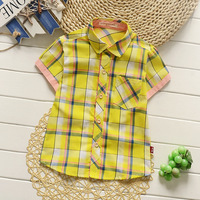 High Qality Summer Short Sleeve Polo Plaid T-shirt For Kids Clothing