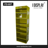 seven shelves cardboard floor display stand for foodware retail