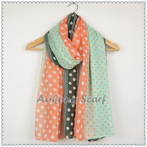 Ornage and green lovely dots scarf shawl viscose stole