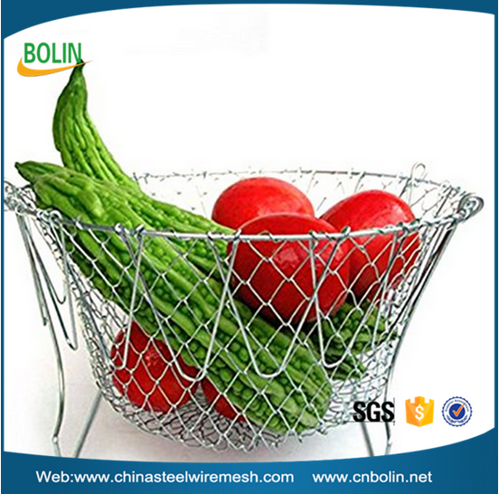 Fry French Foldable Steam Rinse Strain Magic Stainless Steel Strainer Net Basket Chef Basket for Kitchen Cooking
