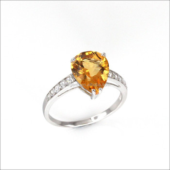 3.5CT Genuine Citrine Ring 925 Sun Silver Ring