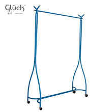 Blue floor standing movable metal clothing rack CURVE MOD.1218