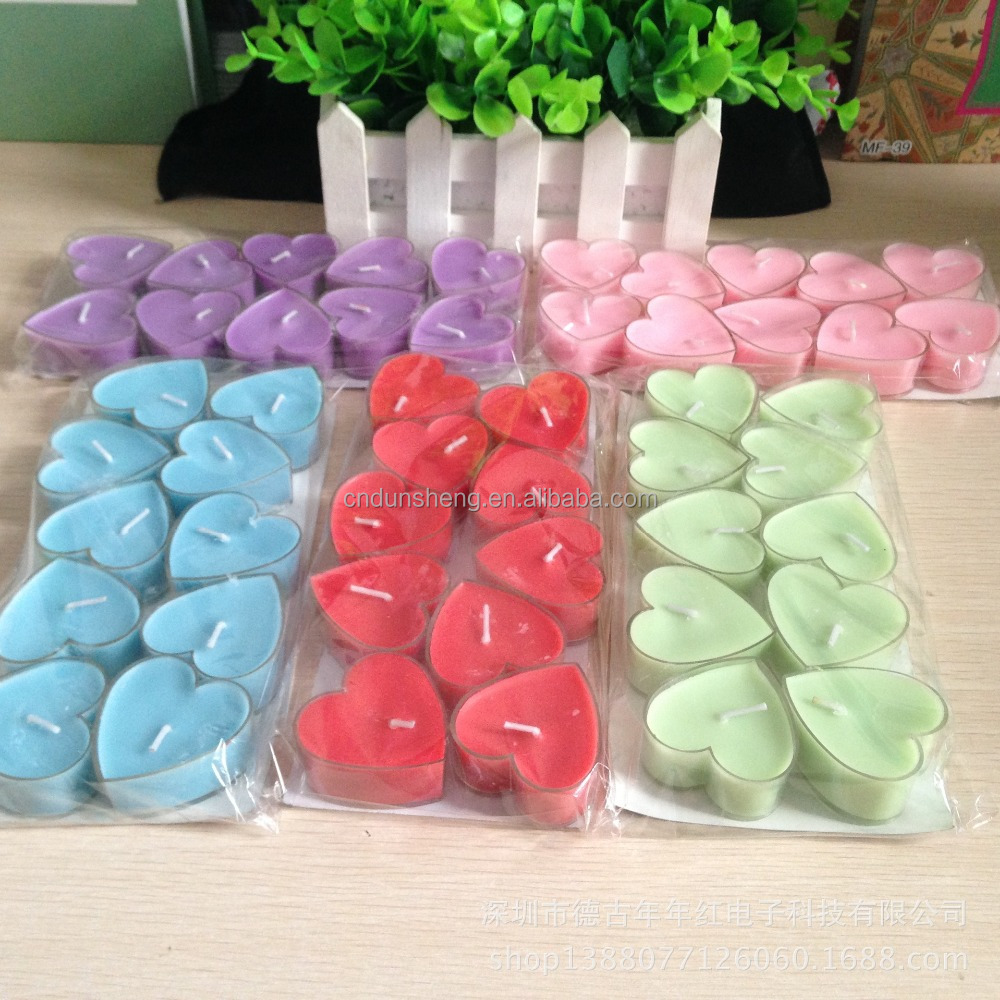 shrinkwrap package heart shape multi-coloured tealight candles